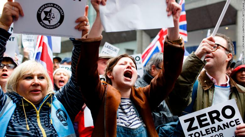 Demonstrators stage a protest against anti-Semitism in Britain's Labour Party in April.