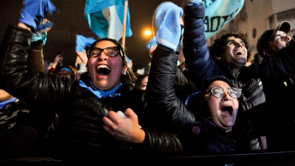 Anti-abortion demonstrators celebrate outside Congress in Buenos Aires, Argentina, early Thursday.