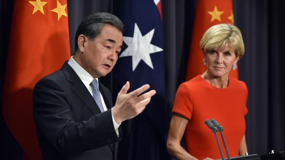 Chinese Foreign Minister Wang Yi (L) speaks during a press conference with Australian Foreign Minister Julie Bishop (R) at Parliament House in Canberra on February 7, 2017. / AFP / MARK GRAHAM        (Photo credit should read MARK GRAHAM/AFP/Getty Images)
