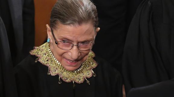 Supreme Court Associate Justice Ruth Bader Ginsburg attends President Barack Obama