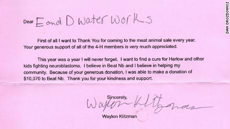 Waylon Klitzman's thank you note to Dan Drozdowicz.