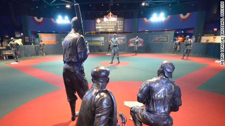 "The ""Field of Dreams"" inside the Negro Leagues Baseball Museum."