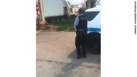 Video shared last week on Facebook shows a white container truck parked in the Englewood neighborhood of Chicago.