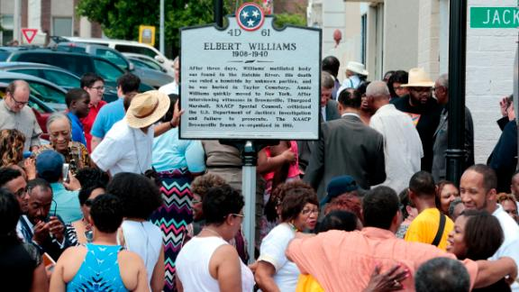 A historical marker honoring Elbert Williams stands in Brownsville, Tennessee.
