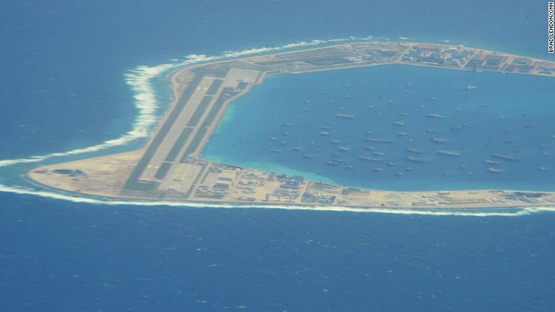 The Chinese-controlled artificial island of Mischief Reef in the South China Sea, as seen by CNN from a US reconnaissance plane on August 10.