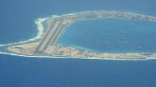 The Chinese-controlled artificial island of Mischief Reef in the South China Sea, seen on CNN from a US reconnaissance plane on August 10.