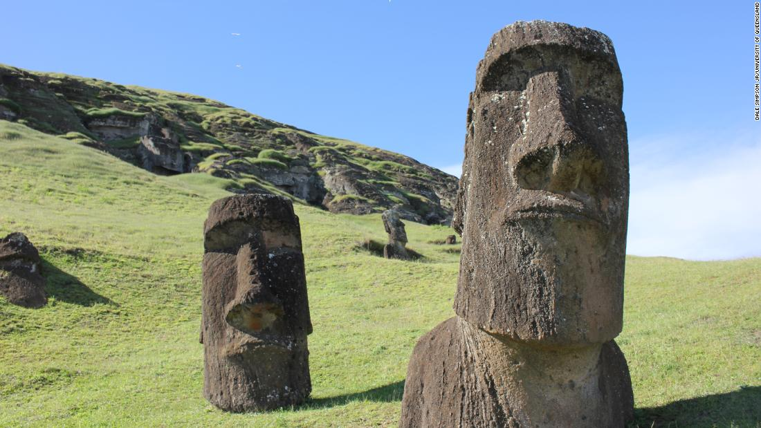 The famed Easter Island statues, called moai, were originally full-body figures that have been partially covered over the passage of time. They represent important Rapa Nui ancestors and were carved after a population was established on the island 900 years ago.