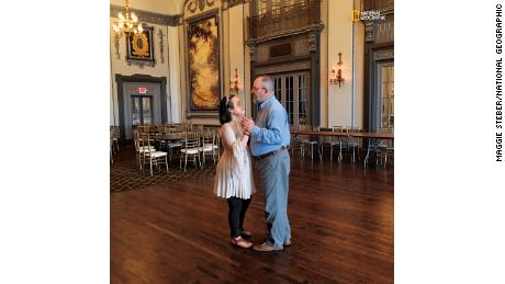 """Nine months and 22 days before Katie's face transplant, at Cleveland's Tudor Arms Hotel, Katie and her father sing """"Have I Told You Lately That I Love You?"""" as they share a dance. """"Before this, I never spent so much time with my parents,"""" said Katie, who credits their love and devotion with helping to save her life."""