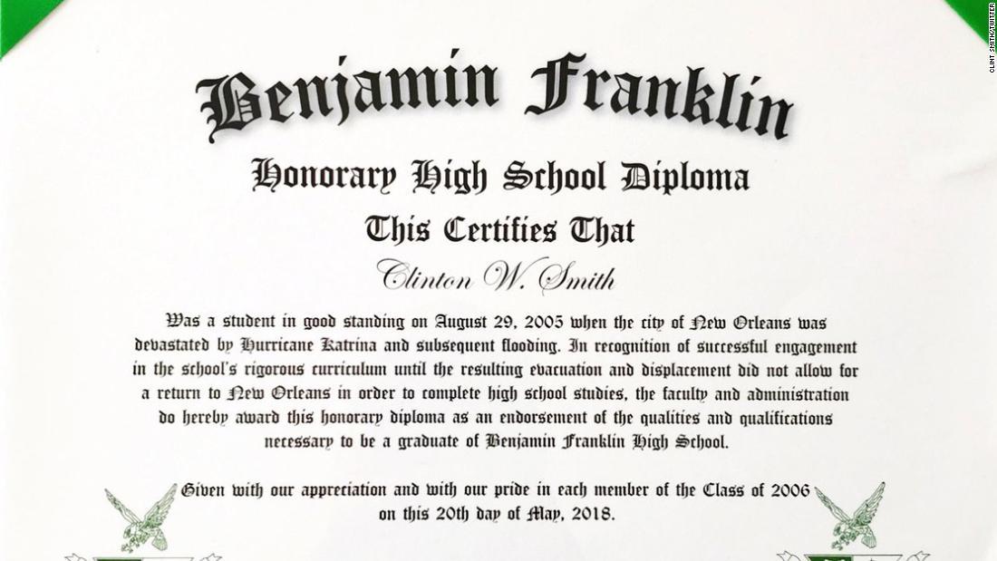 a hurricane katrina evacuee received an honorary diploma