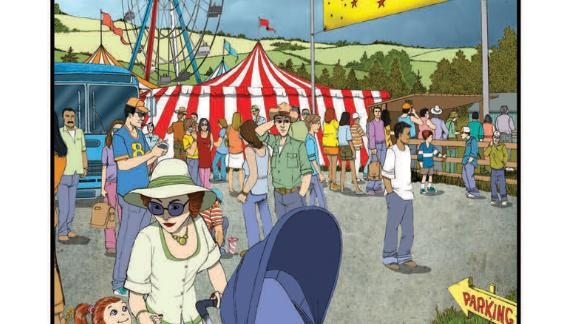 Key scenes in the CDC's new graphic novel take place at a county fair. The festivities have begun as the four teen 4-H members arrive.