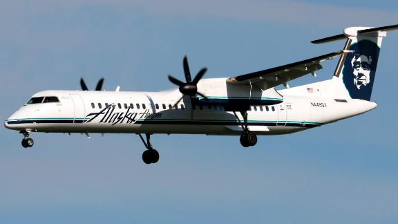 The plane was a Bombardier Q400, like this Horizon Air plane shown in May 2017. Horizon Air is a sister carrier to Alaska Airlines.