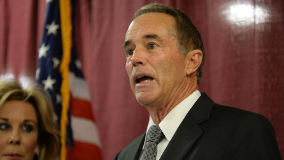 Rep. Chris Collins (R-NY) holds a news conference in response to his arrest for insider trading on August 8, 2018 in Buffalo, New York. (Photo by John Normile/Getty Images)