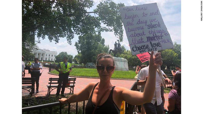 Kaitlin Moore, 28, joined the counterprotest in Lafayette Square Park.
