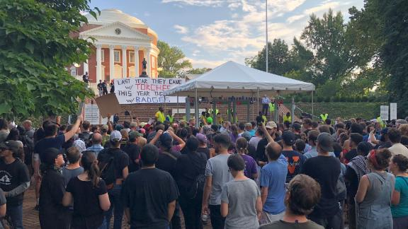 Students gather for a rally at the University of Virginia on Saturday.