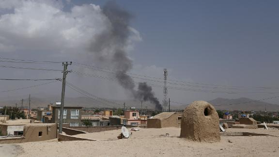 Smoke rising into the air after Taliban militants launched an attack on the Afghan provincial capital of Ghazni on August 10, 2018.