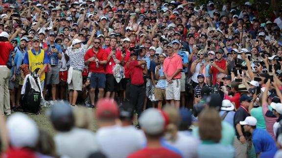 Big crowds gather at Bellerive during Tiger Woods' final round of the US PGA Championship.