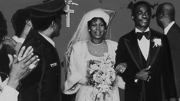 Franklin and Glynn Turman walk down the aisle at their wedding on April 11, 1978.  Editor