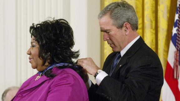 Former President George W. Bush presented Franklin with the Presidential Medal of Freedom, the nation
