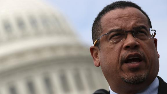 """WASHINGTON, DC - MARCH 21:  Rep. Keith Ellison (D-MN) waits to speak during a press conference outside the U.S. Capitol in opposition to the involvement of U.S. military forces in Syria March 21, 2017 in Washington, DC. U.S. members of Congress voiced their concern about """"escalating U.S. involvement in the Syrian Civil WarÓ during the event.  (Photo by Win McNamee/Getty Images)"""