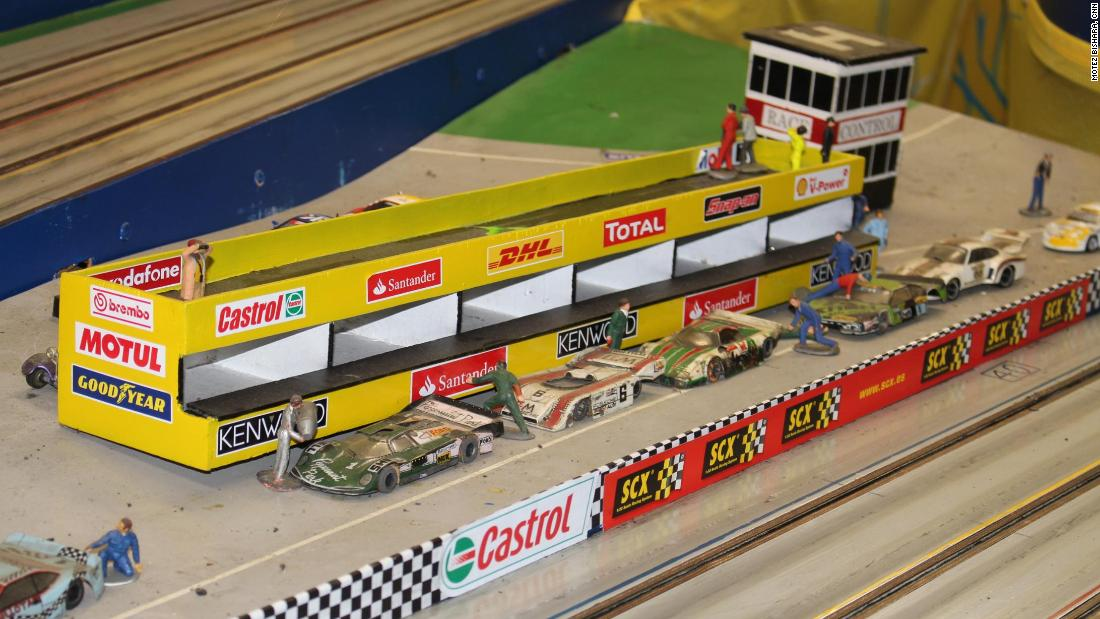 There are fewer than 40 registered slot car racing clubs remaining in the UK, where custom-built racing tracks with elaborate decorations are the norm. Some include vintage figures from the 1960s and 1970s, when the sport was in its prime.
