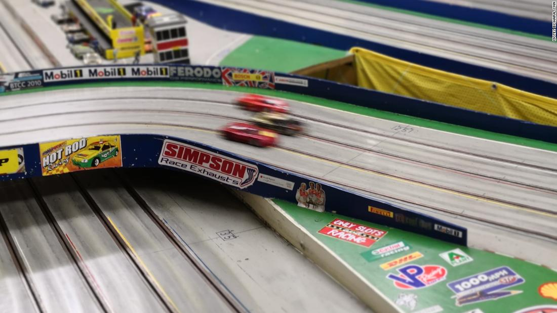 Slot car races are won and lost on curves, with cars easily spinning out of control if speed is not managed.