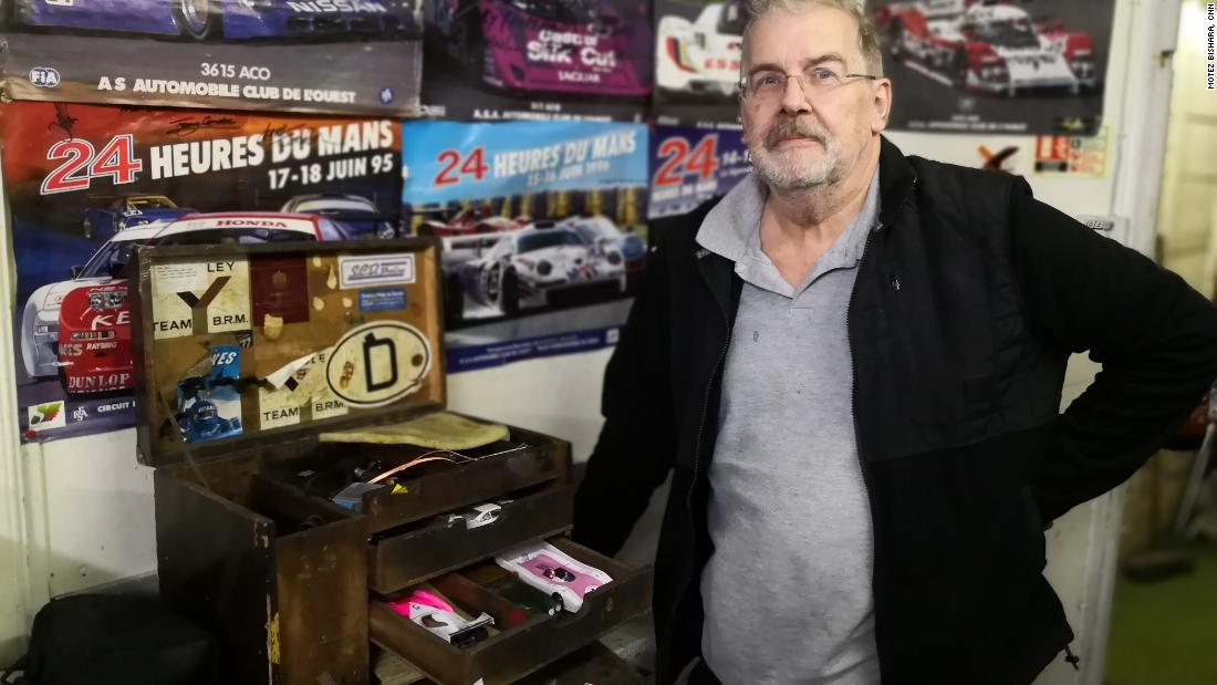 Bob Hallums, of the North London Society of Model Engineers, poses with his workshop kit on a recent racing day. Members often fine-tune slot cars at home in anticipation of their weekly racing nights.