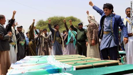 Yemenis vent their anger against Saudis and Americans at a mass funeral last month in northern Yemen.