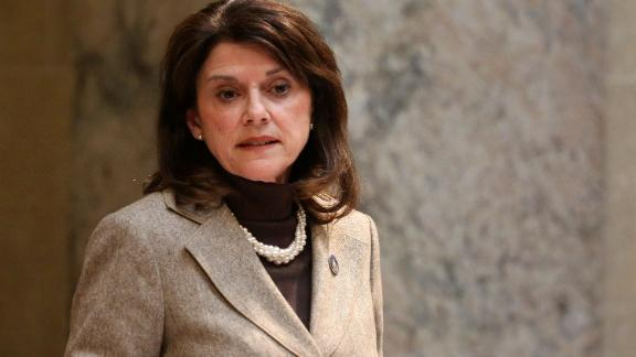 State Sen. Leah Vukmir stands in the Senate chambers at the state Capitol in Madison, Wis.
