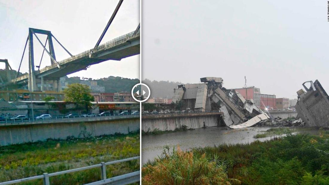 Before and after the Italy bridge collapse