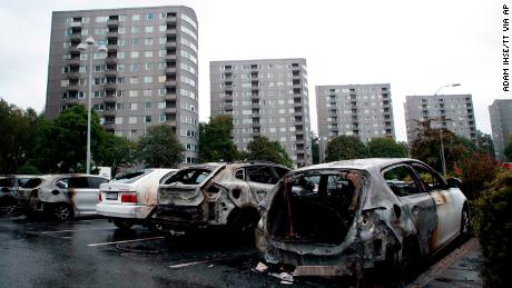 About 80 cars in the Frölunda section of Gothenburg, Sweden, were burned on Monday night.