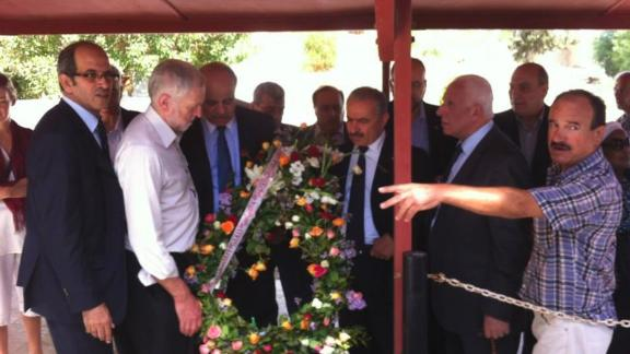 UK Labour Party Leader Jeremy Corbyn takes part in a wreath-laying ceremony at a cemetery in Tunisia, where members of Black September are buried.