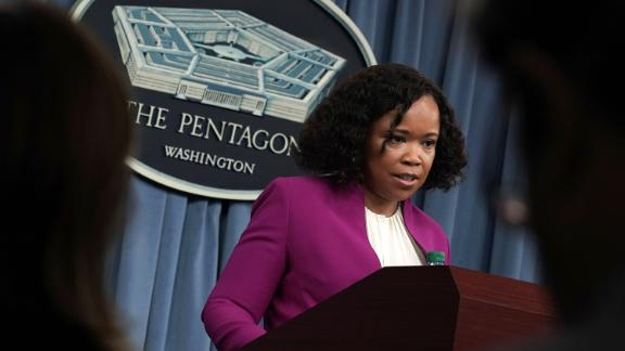 Pentagon Chief Spokesperson Dana W. White speaks during a news briefing at the Pentagon April 14, 2018 in Arlington, Virginia.
