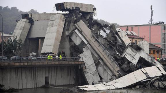 A large section of the bridge lay where it collapsed during a storm.
