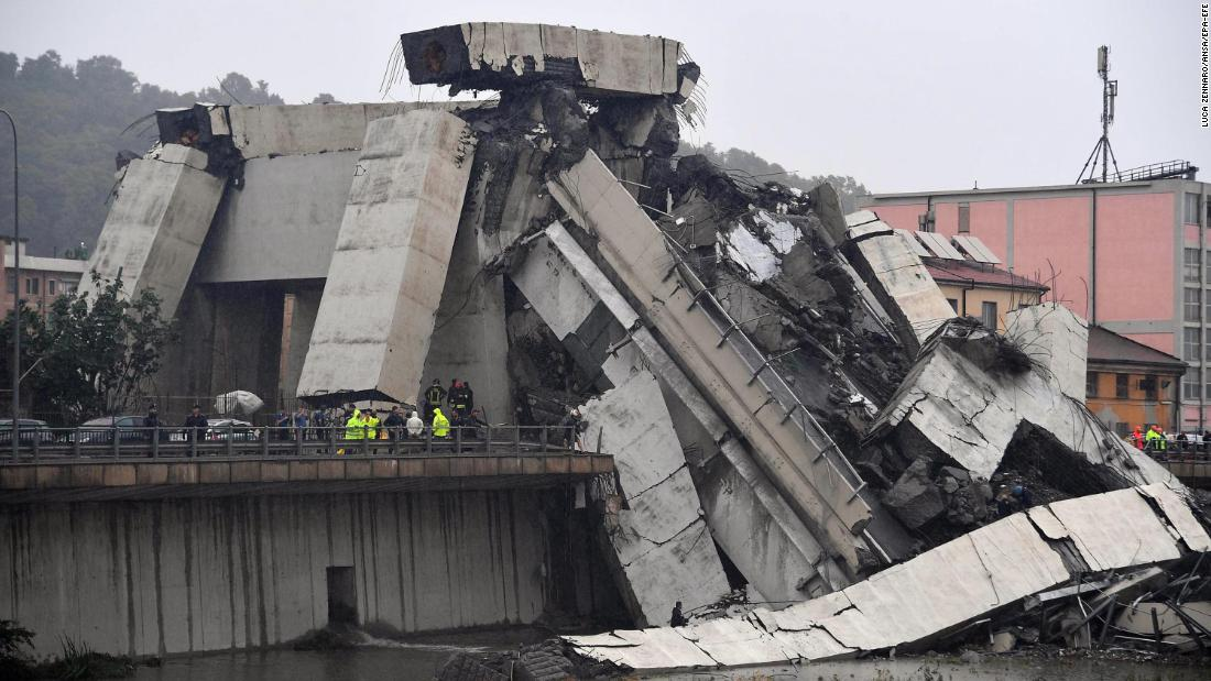 A large section of the bridge collapsed during a storm.