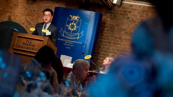 Andy Chan, founder of the Hong Kong National Party, speaks during a luncheon at the Foreign Correspondents Club on August 14, 2018.