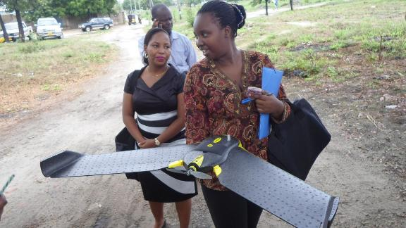 Community-based project Ramani Huria uses drones to capture high resolution imagery of previously unmapped areas in Dar es Salaam, Tanzania.