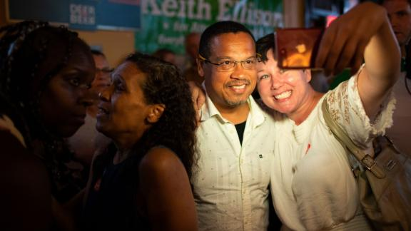 Rep. Keith Ellison poses for a selfie with Jennifer Lindquist after winning the Democratic nomination for Attorney General.
