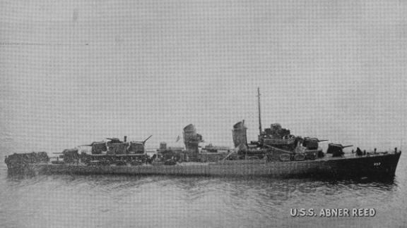 An edited photo of the ship from April 1943. Wartime censors took out radar antennas  and a turret that was part of the firing system.