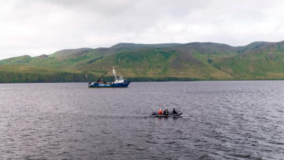 Searchers used an underwater robot to search for the stern in July.