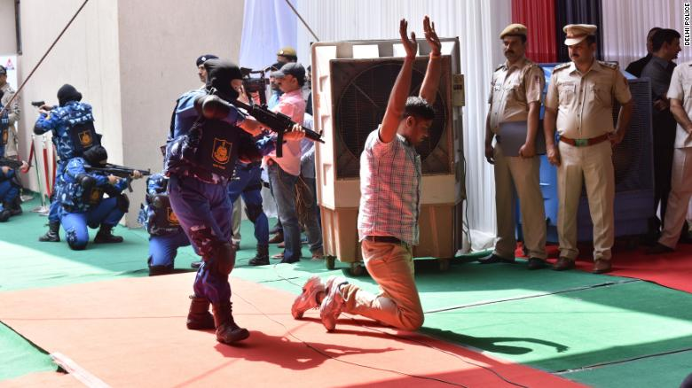 SWAT team members drill in New Delhi. India's first ever all-women SWAT team was deployed for Independence Day celebrations.