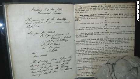 The original Laws of the Game, hand-written by Ebenezer Cobb Morley, on display at the National Football Museum in Manchester, England.