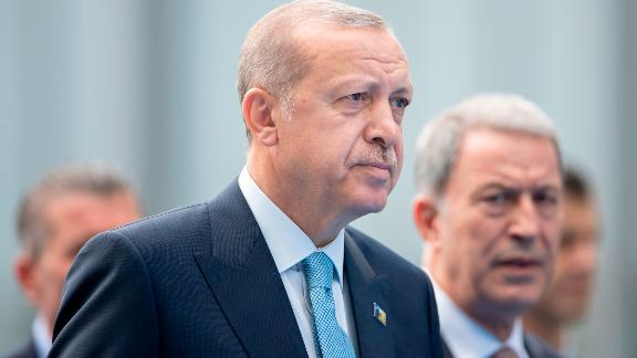 Turkish President Recep Tayyip Erdogan is seen arriving at the NATO Summit in Brussels last month.