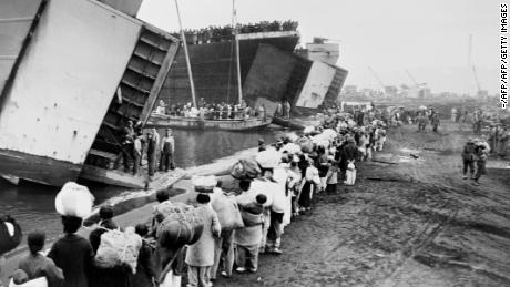 Picture released on December 26, 1950 of the evacuation of UN Command forces, including thousands of soldiers, civilians, vehicles and tons of supplies to Pusan from Hungnam port, during the Korean War.