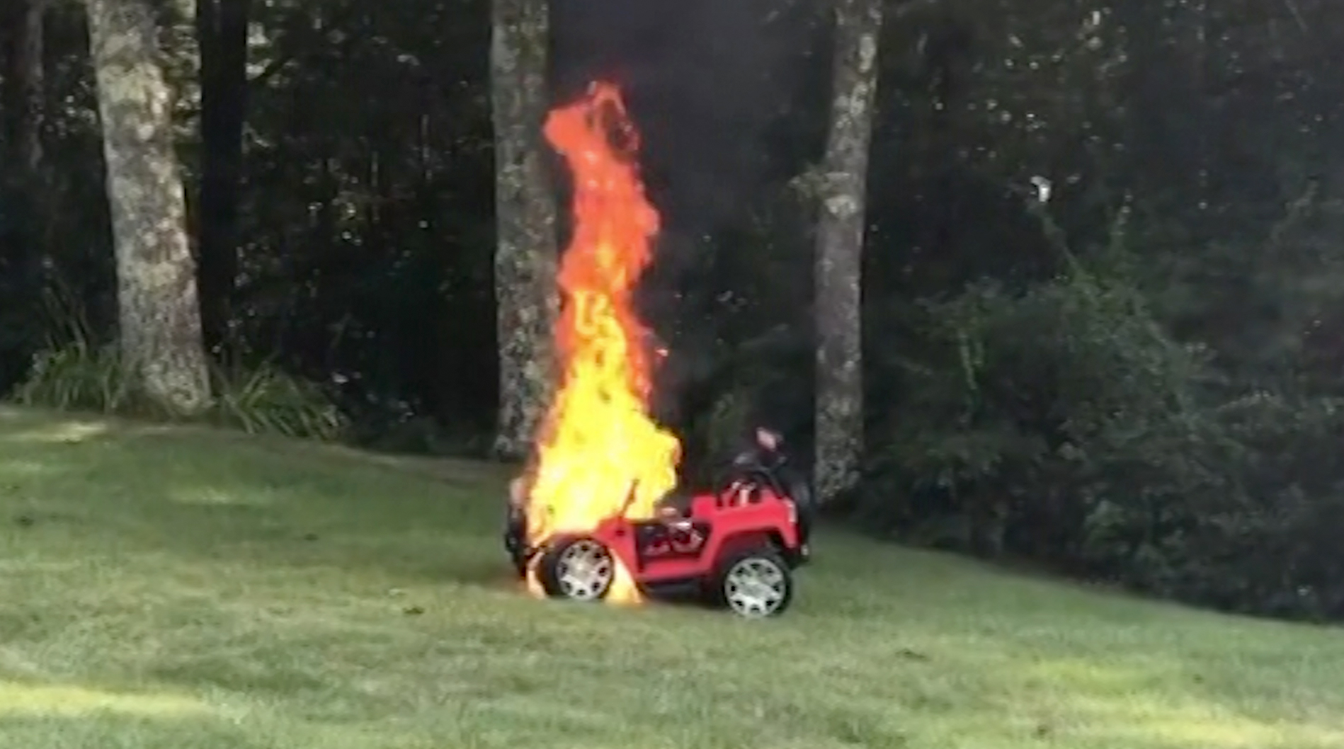 mom rescues kids just before toy car fire - cnn video