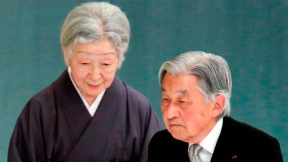Akihito and Michiko attend a memorial service for war veterans in August 2018.