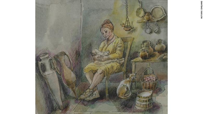 An illustration showing the living conditions of an ancient Roman mother and her infant.