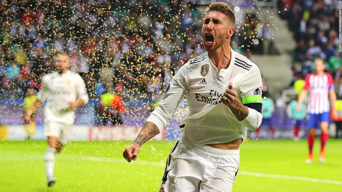 Sergio Ramos of Real Madrid celebrates after scoring his side's second goal during the Super Cup between Real Madrid and Atlético Madrid on Wednesday, August 15, in Tallinn, Estonia. Real Madrid lost to Atlético Madrid 4-2.