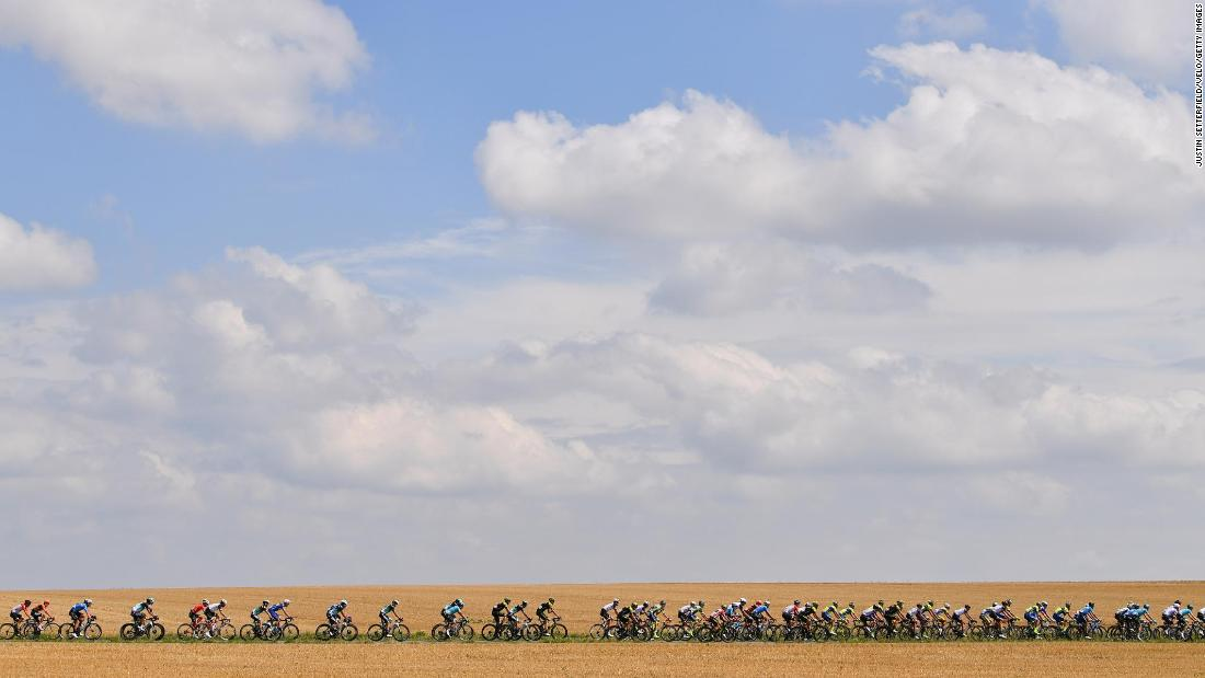 Cyclists are seen in Lanaken, Belgium, during the fifth stage of the BinckBank Tour on Friday, August 17.