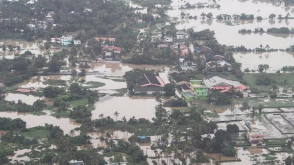 Thousands of homes and roads are under floodwater in Kerala.