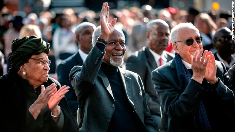 Liberian politician Ellen Johnson Sirleaf, left, Kofi Annan and former Algerian UN politician Lakhdar Brahimi, right, attend an Elders event in South Africa on July 18.